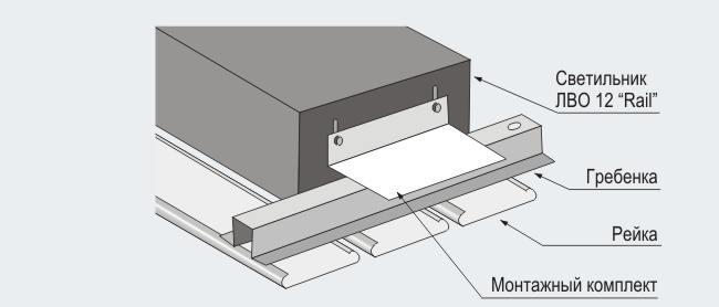 """Схема монтажа светильника ЛВО 12 """"Rail"""" в реечный потолок"""